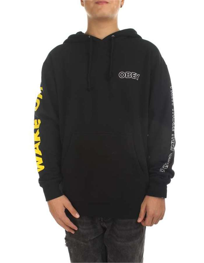 Obey Abbigliamento Uomo Felpa Blk-nero 224180240-FIGHT-THOSE-THAT-CONTROL