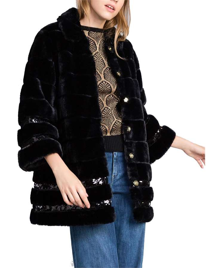 Twin-Set Overcoat 00006-black